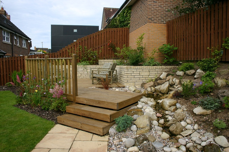 Decking, planting and pond