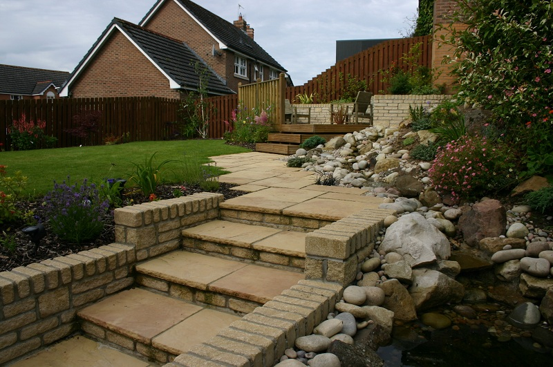 Water feature and steps